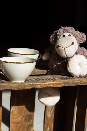 Stuffed Toy Teddy Bear Cuddly Toy Sheep Tea Time Tea Tea Cup Coffee Coffee Time Coffee Break Coffee Cup Coffee ☕ Wood Wooden Retro Retro Styled