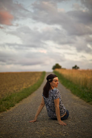 Alive  Beauty Beauty In Nature Depressed Field Freedom Mood Nature Nature One Person One Woman Only One Young Woman Only Only Women Outdoors People Portrait Rural Scene Sad Street Summer Sunset Thinking Woman Women Young Adult