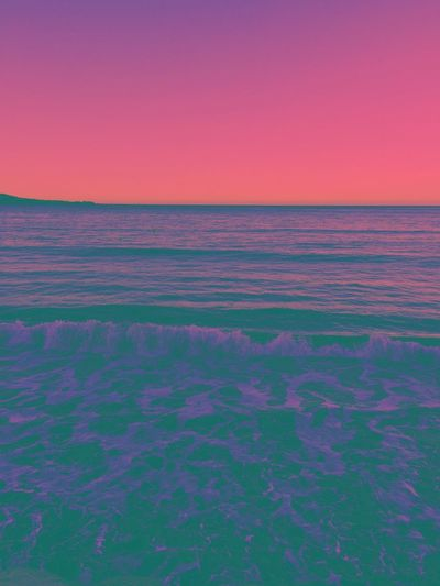 Different beach 🌊 Horizon Landscape_photography Landscape Ocean Pink Color Filter Scenics - Nature Beauty In Nature Tranquil Scene Sunset Sea Tranquility Sky Water Idyllic Horizon Horizon Over Water No People Nature Environment Landscape Pink Color Purple Land Pattern Clear Sky