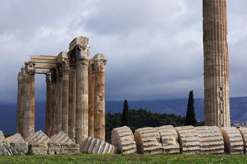 Ancient History Architecture Architecture Athens Cloudy Day Column Fallen Greece History No People Old Outdoors Ruins Temple Temple Of Olympian Zeus Tourism Travel Travel Photography