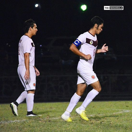 Valmayor @mayorjinggoy and Aguilar @agiaguilar8 of the UP Fighting Maroons ⚽⚽⚽ . . . Uaap77 UPvsUST Upfight Upfightingmaroons sbspotlight soccerbible football themanansala bootspotting