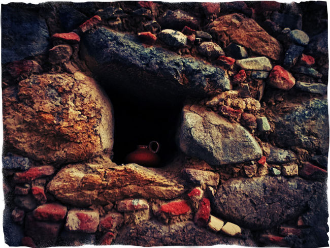 small jug of clay inside a hole of a stone wall - 2 Auto Post Production Filter Brown Color Clay Jug Covered Day Detail Deterioration Inside A Hol Inside The Car Jug Of Clay Multi Colored No People Obsolete Red Color Stone Stone - Object Stone Material Stone Wall Tranquility