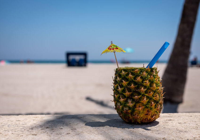 A Drink and a View Ocean View Pineapple Scenic Travel Beach Day Drink Drinking Straw Florida Fruit Outdoors Relaxation Tropical Climate Vacation