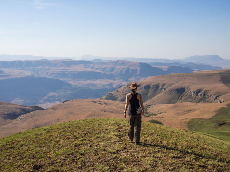Drakensberg, South Africa Drakensburg Mountains, South Africa, Mountain Hiking Adult Adults Only Beauty In Nature Day Drakensberg Full Length Grass Hiking Landscape Mountain Mountain Range Nature One Man Only One Person Outdoors People Real People Scenics Sky Standing