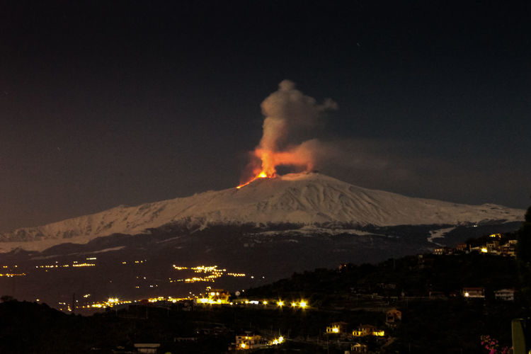 Mountain Volcano Night Smoke - Physical Structure Erupting Sky Power In Nature No People Geology Land Environment Illuminated Nature Beauty In Nature Scenics - Nature Power Active Volcano Landscape Heat - Temperature Lava Outdoors Snowcapped Mountain Volcanic Crater Mountain Peak