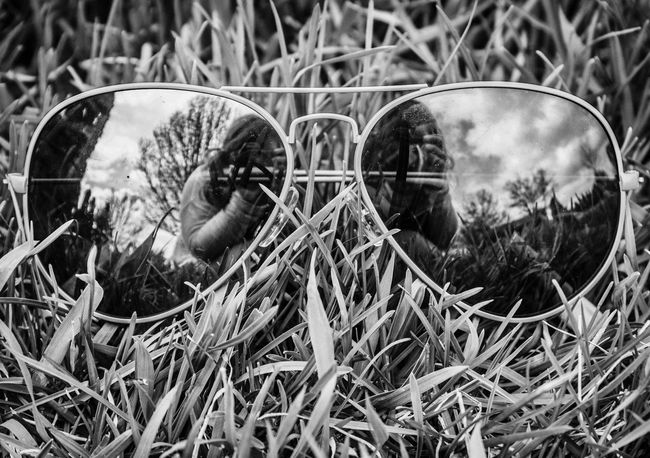 """""""When will my reflection show me who I am inside"""" Photography Check This Out Taking Photos Blackandwhite Blackandwhite Photography Sunglasses Reflection Double Trouble Canon Grass"""