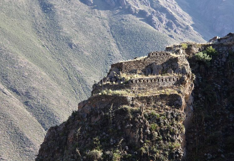 High angle view of castle on mountain