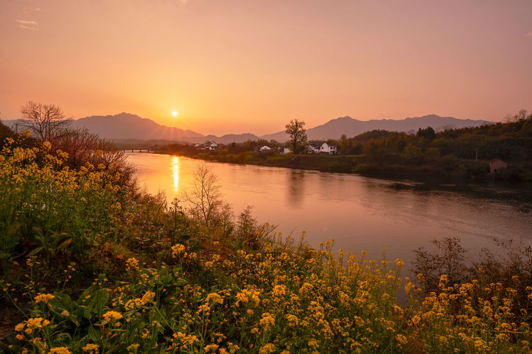 Sunset Sky Beauty In Nature Water Sunset Tranquility Nature Orange Color Sun Mountain Reflection River Idyllic Sunlight Plant Field Taohuatan Anhui China