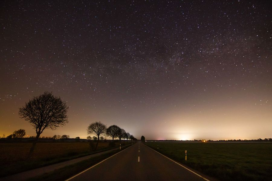 Stars Milkyway Nature In The City Street Night Alone Universe