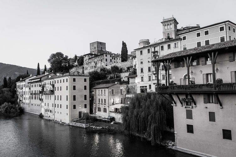 Residential buildings on banks of river