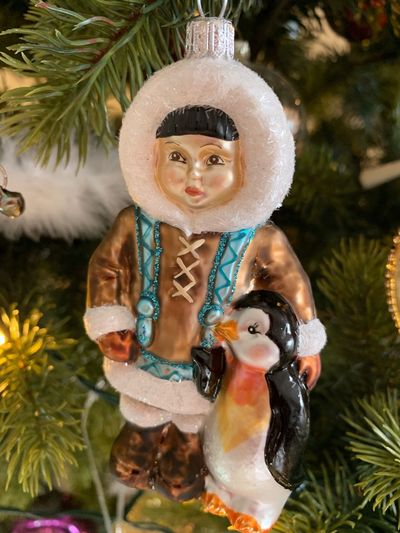 Close-up of figurine with christmas tree