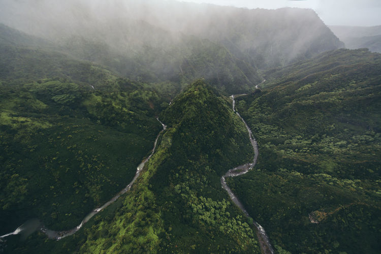 High angle view of landscape, helicopter view, two water streams kauai, hawaii