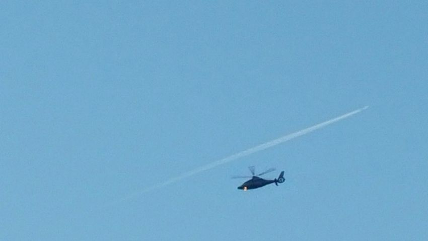 Helicopter Chopper Flying Rotor Plane Distant Plane Blue Wave
