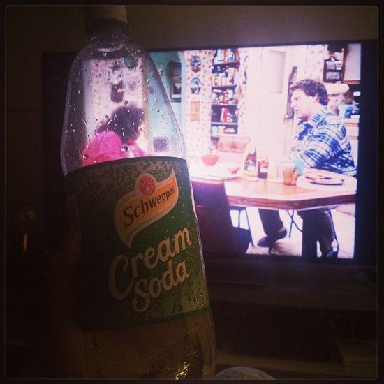 Drinking CreamSoda and watching Roseanne Darlenegotherperiod Classictv Thankyounetflix
