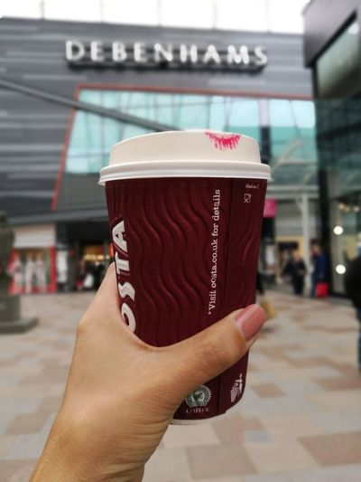 First cup ☕ Human Body Part Human Hand One Person Food And Drink Close-up Outdoors Architecture Sky City Street Art Is Everywhere Shoppingmall Shoppingcenter Travel Destinations Coffee Cup Coffee Time Latte Coffee