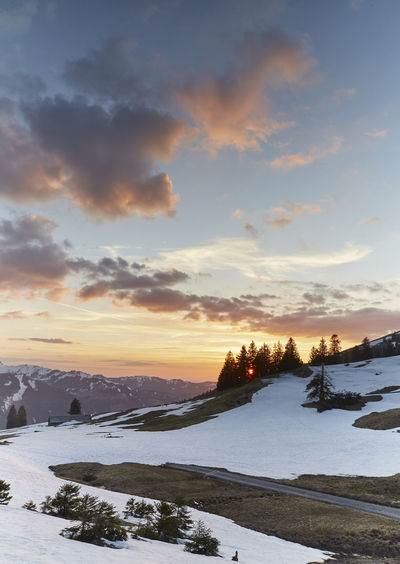 Beauty In Nature Cloud - Sky Cold Temperature Covering Environment Frozen Idyllic Landscape Nature No People Non-urban Scene Orange Color Scenics - Nature Sky Snow Snowcapped Mountain Spring Springtime Sunset Tranquil Scene Tranquility Winter