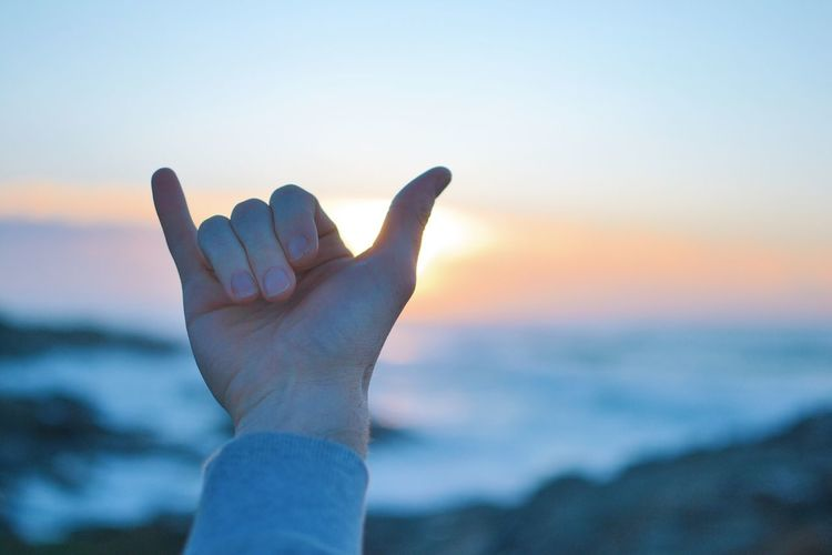 Cropped hand of person gesturing horn sign at beach during sunset