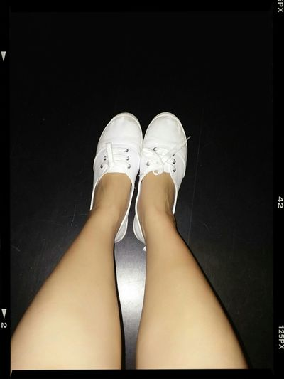 White Shoes Getting Comfy