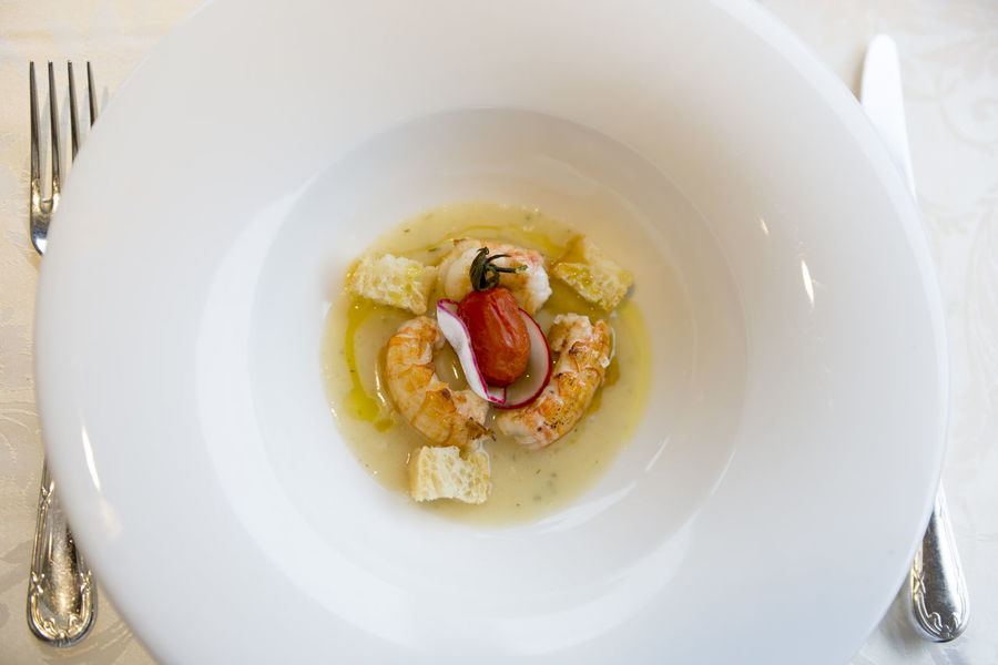 Luxury soup with shrimp and tomato in Liguria, Italy. Appetizer Bread Close-up Dessert Elegance And Class Food Food And Drink Food Styling Fork Freshness Gourmet Indoors  Indulgence Luxury Meal Minimalism No People Nouvelle Cuisine Plate Ready-to-eat Restaurant Shrimp Suop Temptation Tomato