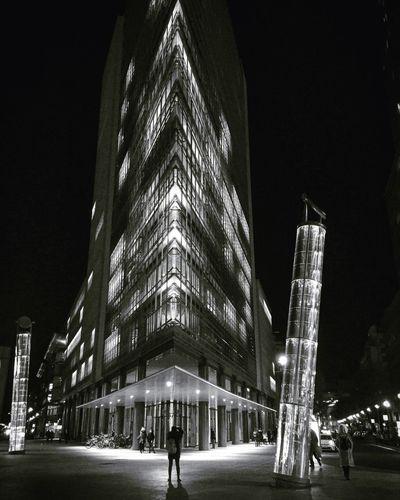 Blackandwhite Building Exterior Night Lookingup Architecture Women Modern Outdoors City Sky