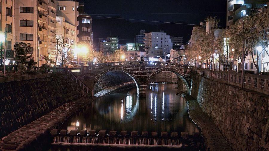 Meganebashi( 眼鏡橋 ) : Stone Bridge Nightphotography Streetphoto_color Night Lights Cityscapes 16:9 Crop HDR Panasonic LUMIX GX1+ LEICA D SUMMILUX 25mm Good Night