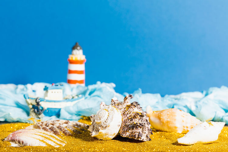 Close-up of food on beach against blue sky