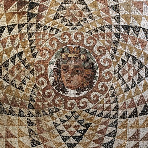 Mosaic Ancient Corinth Archeology Greece Pattern Full Frame Backgrounds Design Art And Craft Creativity Geometric Shape Mosaic Close-up Circle Shape