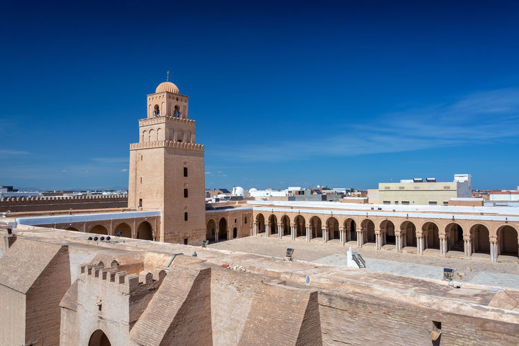 View of the stunning Great Mosque of Kairouan, Tunisia Beautiful City Construction Famous Tunis Tunisia View Africa Architecture Building Building Exterior City Great Great Mosque History Islam Kairouan Landmark Mosque Muslim Outdoors Religion Tourism Traditional Travel
