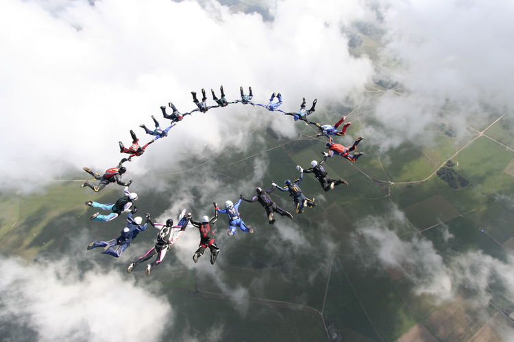 High angle view of people skydiving
