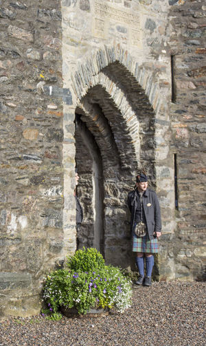 Scotish Scotland 💕 Scotlandlover Full Length Kilt Highlands Architecture Architectural Column Footpath Copyspace Fort Castle Fortified Wall Footpath Weathered History Arch Day Eilean Donan Eilandonancastle Eilean Donan Castle Scotland Architecture Outdoors Tranquility