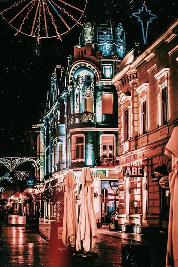 Christmas Decoration Oradea Romania Xmas Architecture Building Exterior Illuminated Built Structure Night Building City Outdoors Decoration Lighting Equipment Glowing Christmas Street Celebration Capture Tomorrow