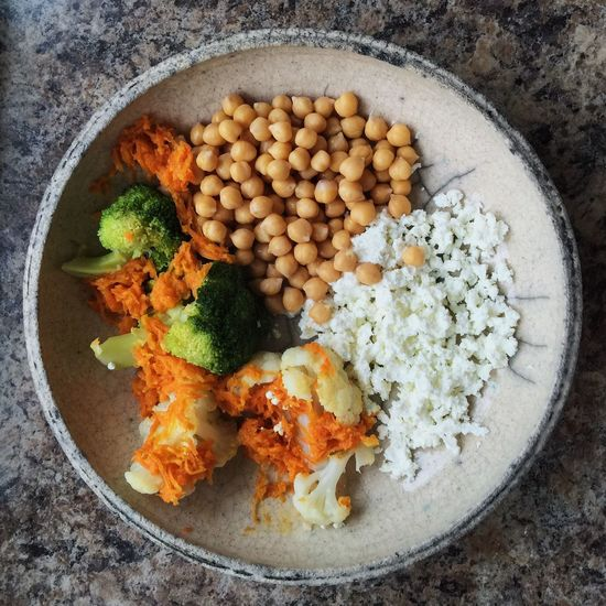 Healthy vegetarian breakfast with cheese, broccoli, cauliflower, carrot Balance Breakfast Broccoli Carrot Cauliflower Cheese! Chickpeas Diet Dinner Food Food And Drink Freshness Healthy Eating Lunch