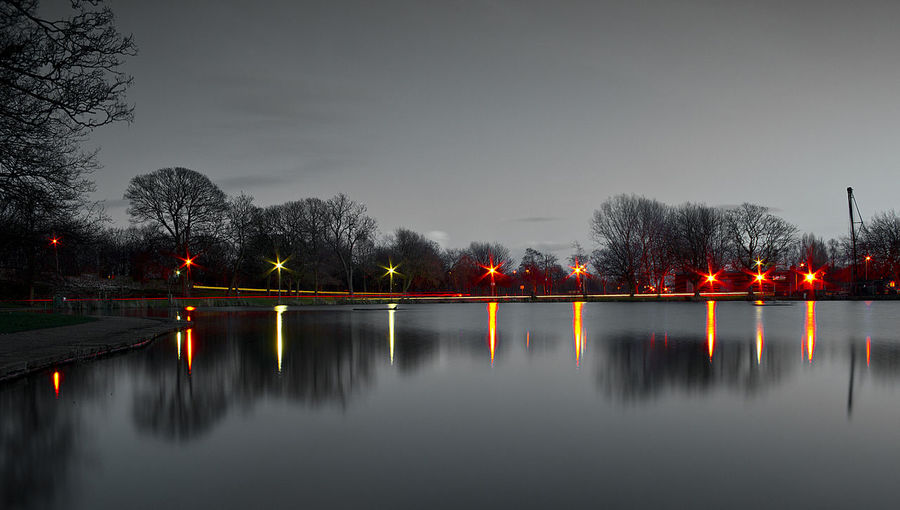 #Black&White #park #park In Night Beauty In Nature Lake Nature Night Water