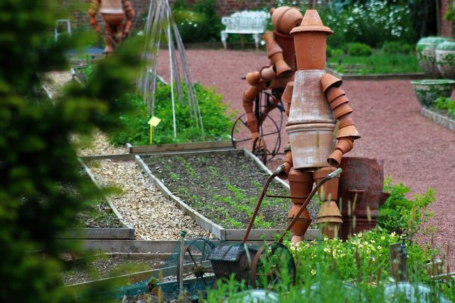 Close-up Day Flowerpot Men Flowerpots Garden Grass Growth Metal Nature No People Outdoors Pipe - Tube Plant Rusty Water