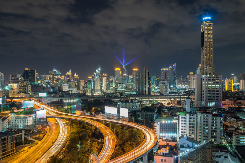Aerial view of bangkok city downtown cityscape urban skyline at night ,landscape thailand