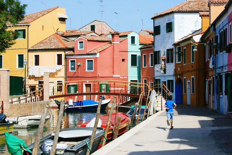Building Exterior No People Water Burano, Italy Venice, Italy Sky Day Travel Destinations Architecture Italy One Person Boy Running