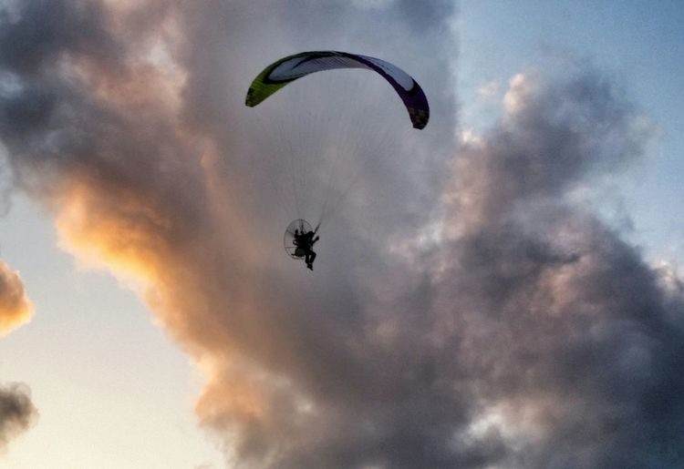 Carry me away... Sky Diving Leisure Activity Flying Burning Sky From My Point Of View My Smartphone Life Sun Down Sky Silhouettes Of People