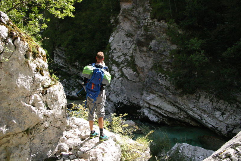 River Soča, Slovenia Adventure Backpack Climbing Hiking Leisure Activity Lifestyles Mountain Nature One Person Outdoors Real People RISK Travel Destinations Walking