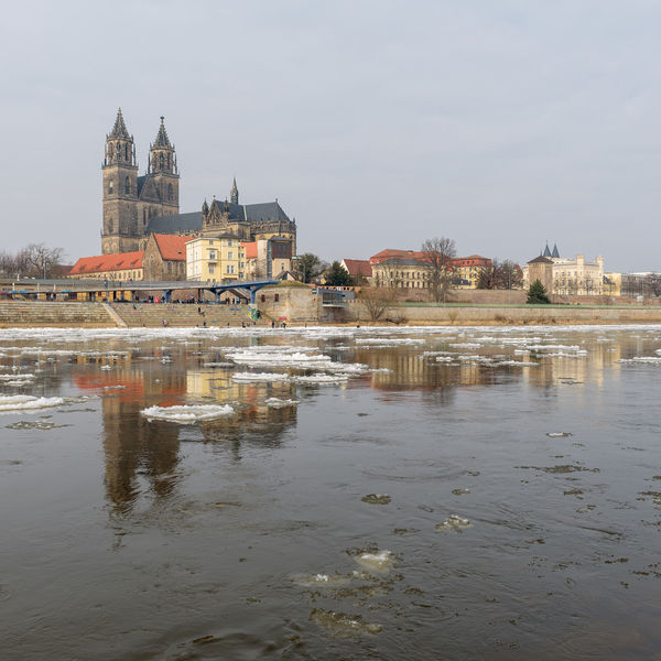 Elbe River Magdeburger Dom Sachsen-Anhalt Architecture Building Exterior Built Structure Day Eisschollen History House Landeshauptstadt Magdeburg Nature No People Outdoors Place Of Worship Reflection Sky Spirituality Travel Destinations Water Waterfront