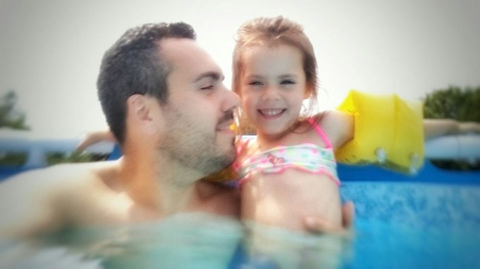 Modern Father My Daughter Sweety  Swimming Pool Summer Sun Funny Selfie Truelove Happyness