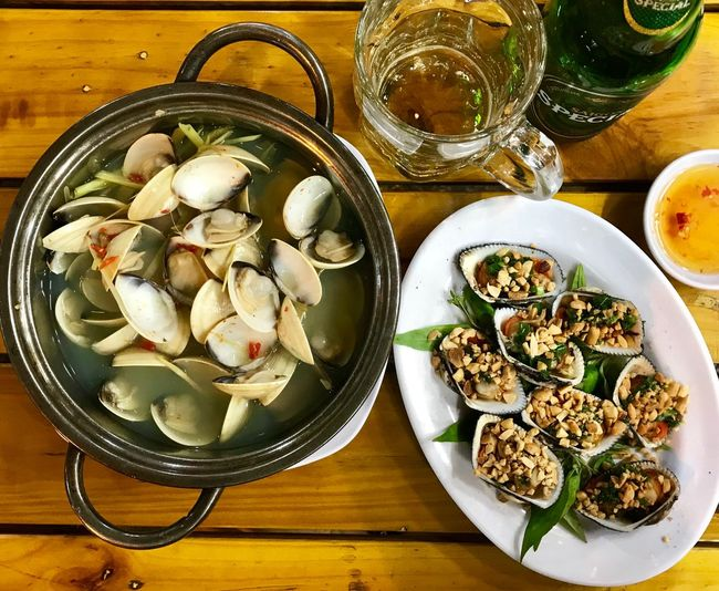 Food And Drink Clams Scallop Shells Scallop Vietnam Ho Chi Minh City ShotOnIphone Streetphotography Seafoods Food And Drink Food Table Freshness Indoors  Still Life High Angle View Directly Above Temptation Wood - Material Healthy Eating No People Serving Size Wellbeing Ready-to-eat Close-up Plate Bowl Indulgence