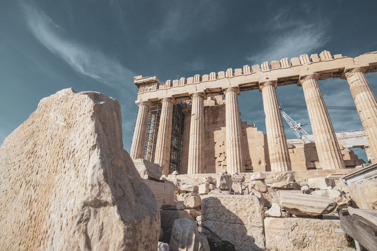 Acropolis Athens Greece Acropolis Architecture Sky Ancient Travel Destinations History Built Structure The Past Old Ruin Ancient Civilization Travel Tourism Architectural Column Nature Archaeology City Cloud - Sky Sunlight Day Low Angle View Ruined No People Outdoors Ancient History