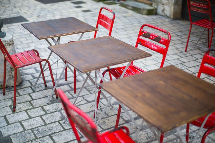 Chair Classic Dining Dining Table Outdoors Red Resturant Text Vintage