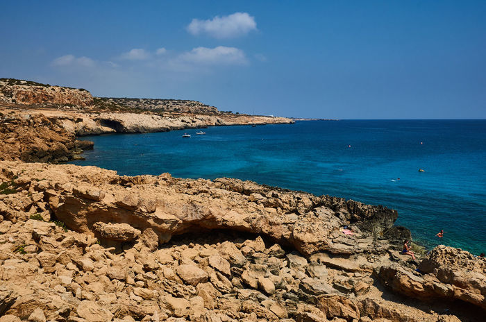 Cape Greco, Cyprus Cyprus Beach Beauty In Nature Blue Cape Greco Day Horizon Over Water Nature No People Outdoors Rock - Object Scenics Sea Sky Tranquil Scene Tranquility Travel Destinations Water