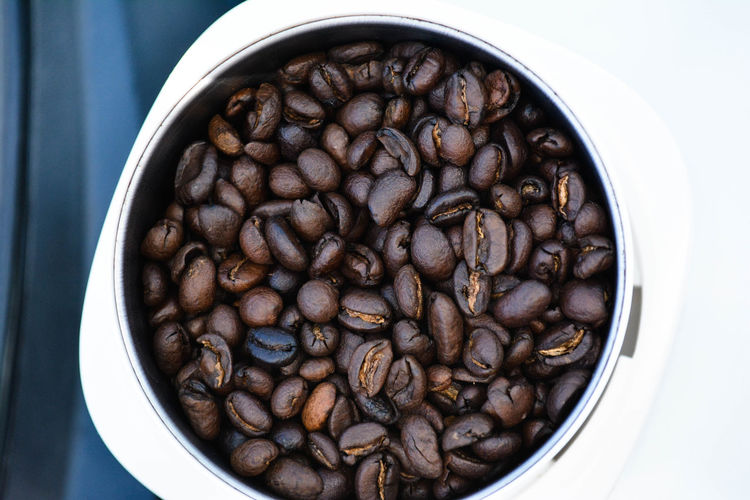 Close-up of coffee beans in bowl