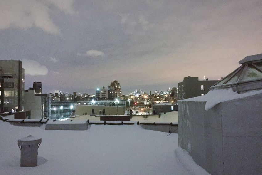 Snow Winter Cold Temperature Building Exterior Sky Weather City Cityscape Roof New York Brooklyn
