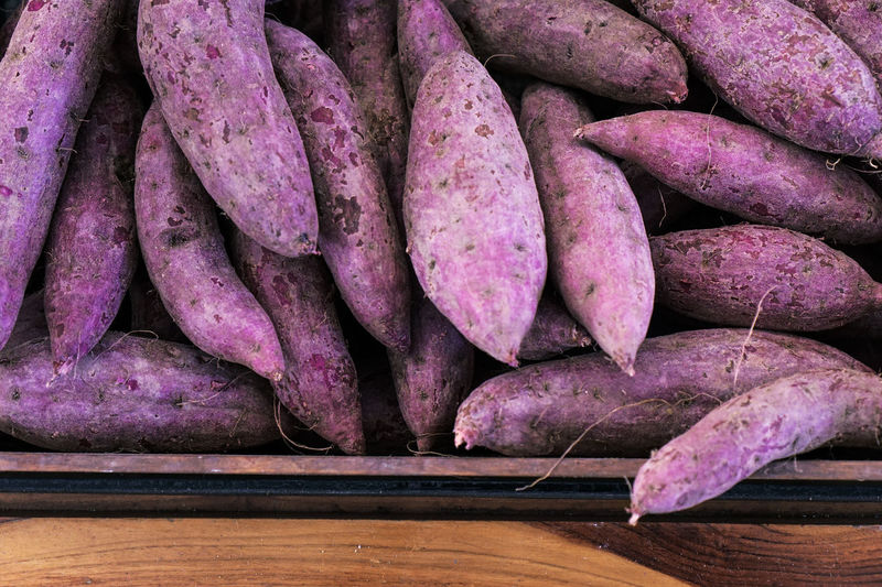 Market Potato Supermarket Day Food And Drink Freshness Healthy Eating Purple Purple Potatoes Purple Yam Raw Potato Root Vegetable Stack Supermarket Sweet Potatoes Vegetable Vegetable Box Vegetables Yam