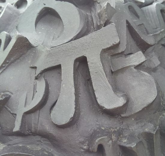 A mathematical pi symbol. Industrial Photography Textured  Architecture Backgrounds Blackandwhite Close-up Communication Craft Full Frame Grey Mathematics Metal No People Number Pattern Pi Day Pink Color Shadow Text Weathered