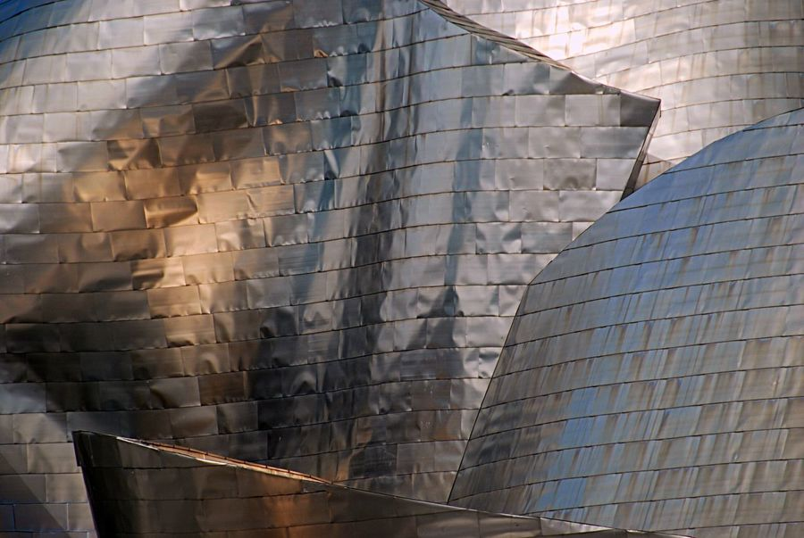 Dented Shape Pattern Texture Textured  Day Reflection Modern Building Exterior Built Structure Architecture Façade Stainless Steel  Frank Gehry Detail