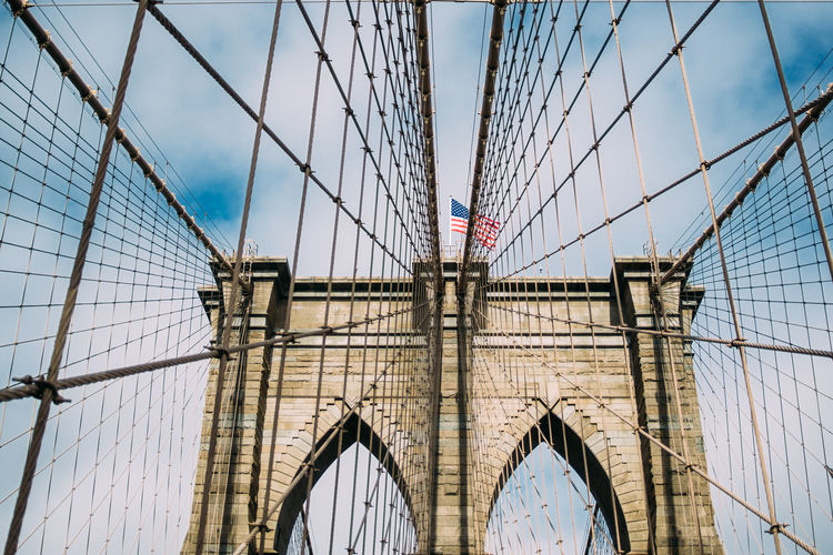 Brooklyn Bridge  New York Arch Bridge Bridge - Man Made Structure Built Structure City Connection Engineering Low Angle Outdoors Sky Travel